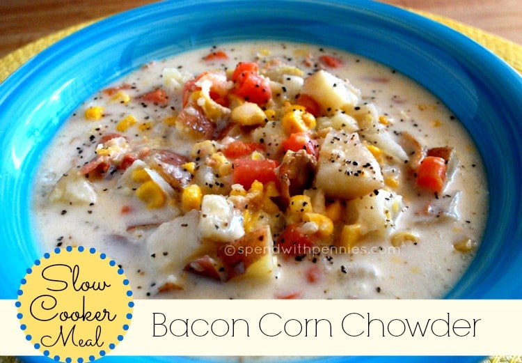 Slow Cooker Corn Chowder  Slow Cooker Bacon Corn Chowder recipe