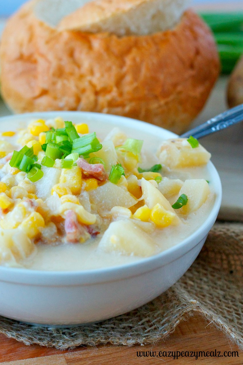 Slow Cooker Corn Chowder  Slow Cooker Corn Chowder Eazy Peazy Mealz