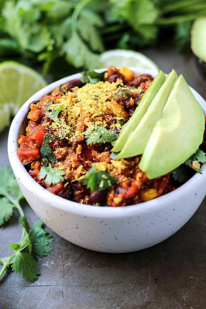 Slow Cooker Enchilada Quinoa  Slow Cooker Vegan Enchilada Quinoa Chili • Fit Mitten Kitchen