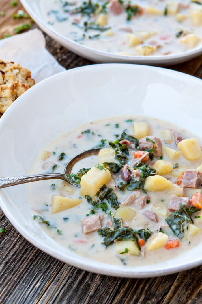 Slow Cooker Ham And Potato Soup  Slow Cooker Ham Soup with Potatoes and Kale