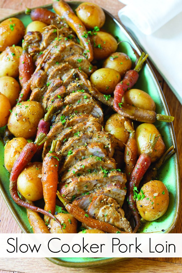 Slow Cooker Pork Loin  Slow Cooker Pork Loin with Ve ables