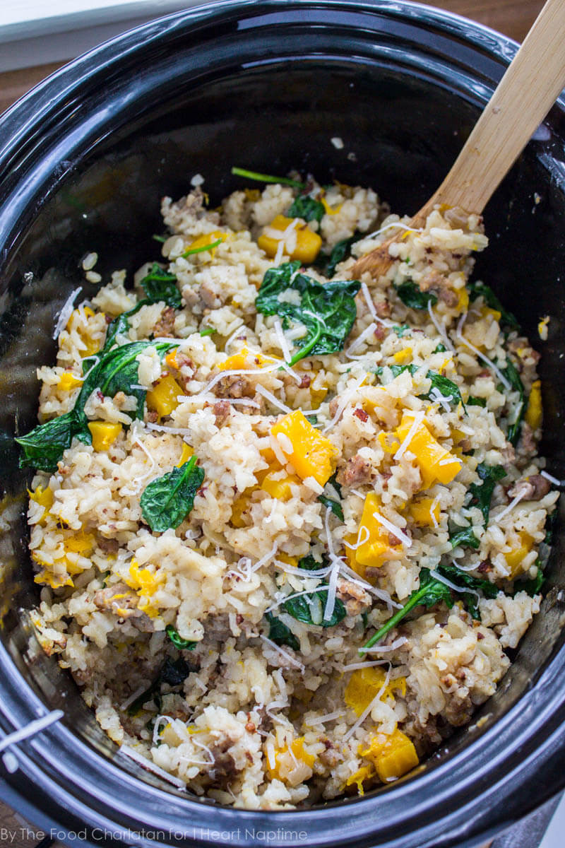 Slow Cooker Risotto  Slow Cooker Risotto with Butternut Squash and Sausage I