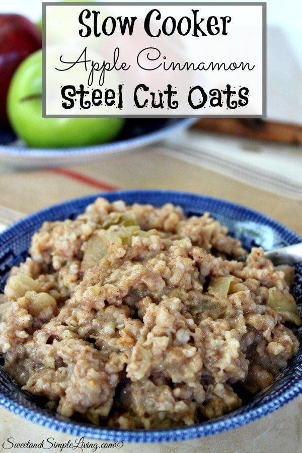 Slow Cooker Steel Cut Oats  Slow Cooker Apple Cinnamon Steel Cut Oats Recipe
