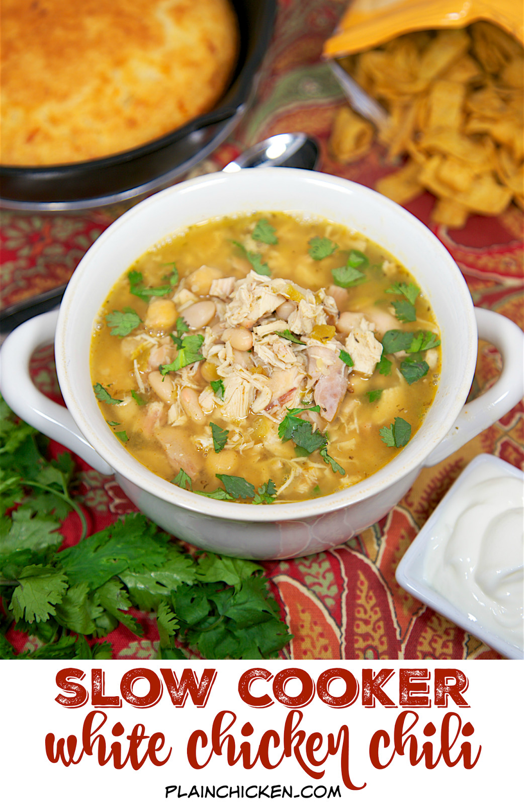 Slow Cooker White Chicken Chili  Slow Cooker White Chicken Chili Plain Chicken