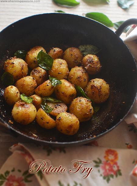 Small Potato Recipes  Small Potato Fry Recipe Baby Potato Roast Sharmis Passions
