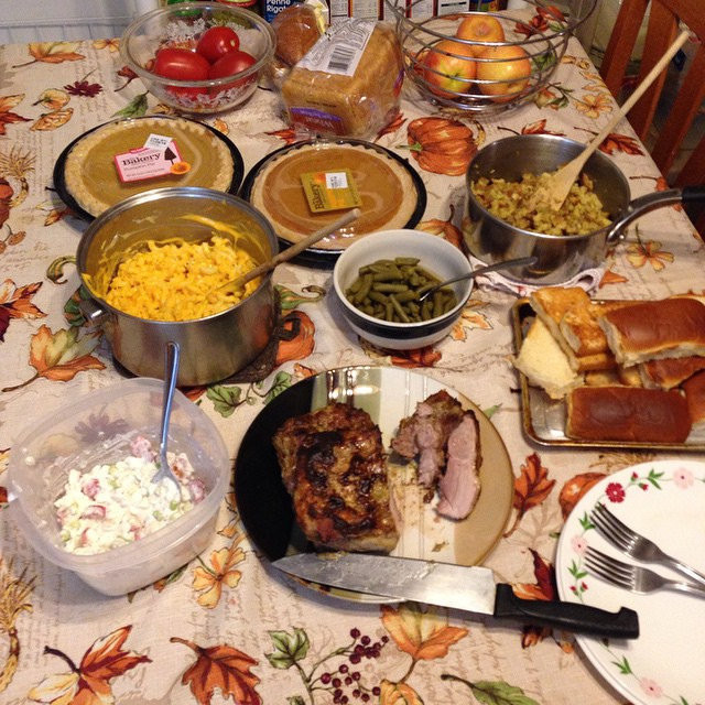 Small Thanksgiving Dinner  Our small Thanksgiving dinner Nice pork roast We re savi