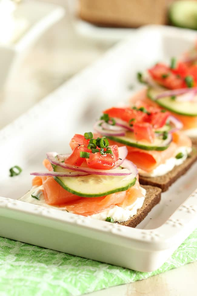 Smoked Salmon Canapes  Smoked Salmon Canapes with Whipped Chive Cream Cheese