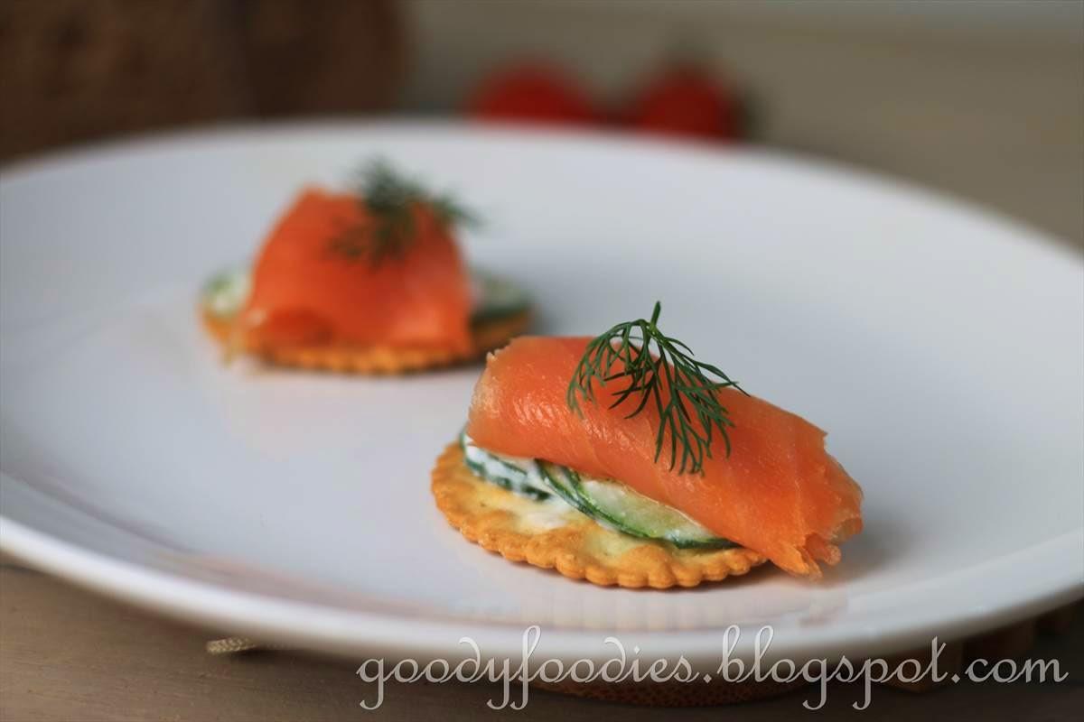 Smoked Salmon Canapes  GoodyFoo s Recipe Smoked Salmon and Yogurt Cucumber