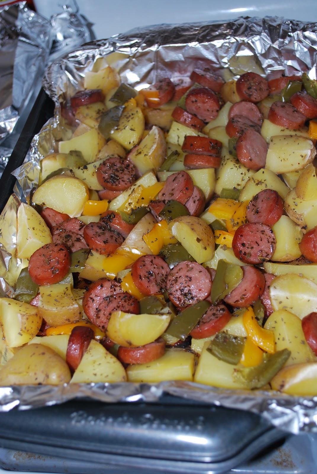 Smoked Sausage And Potato Bake  Chicago Foo Sisters Smoked sausage and potato bake