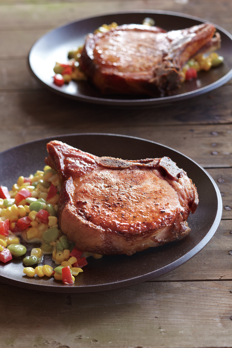 Smoking Pork Chops  Smoked Pork Chops with Summer Succotash