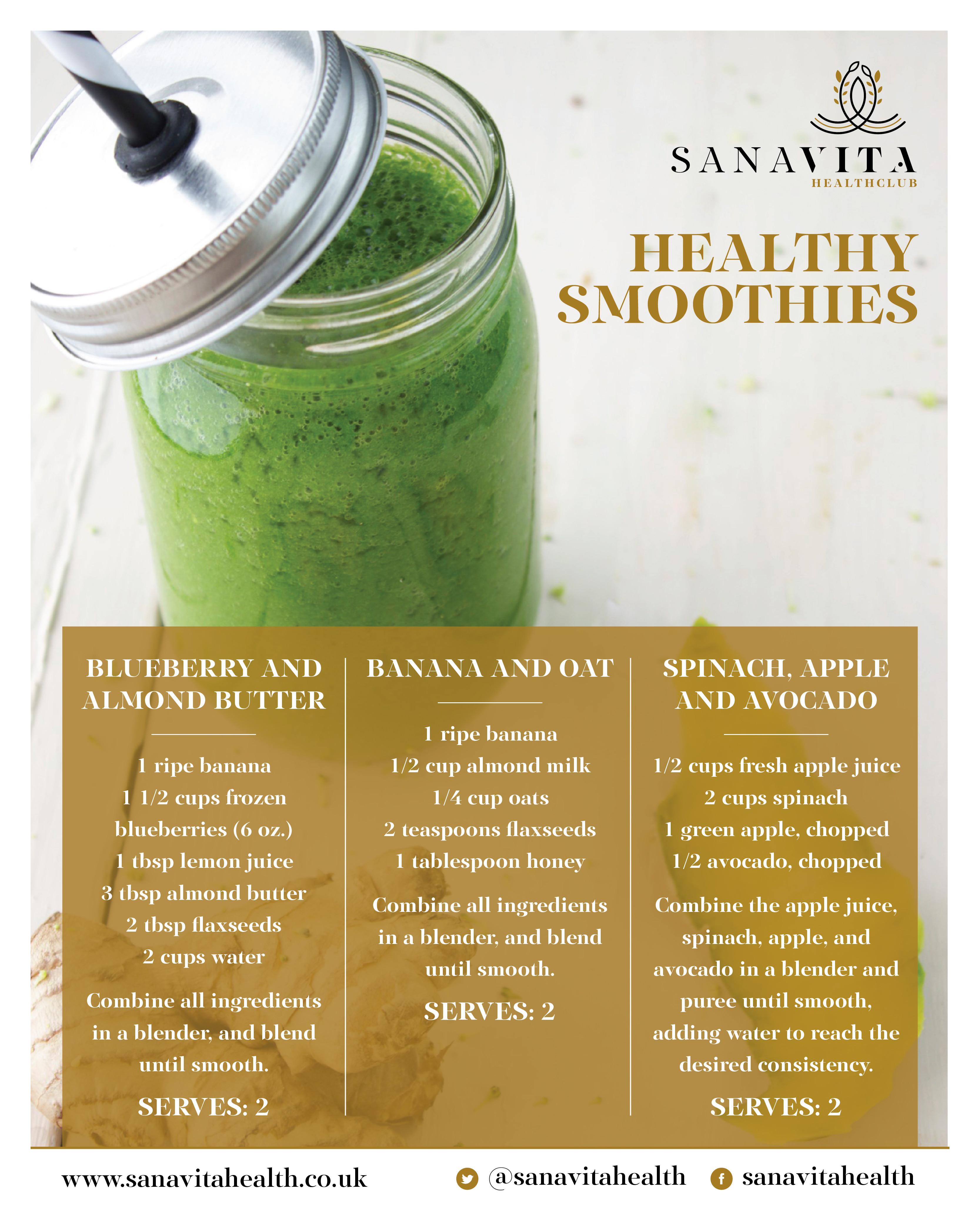Smoothie Recipes Healthy  Sana Vita Health Club