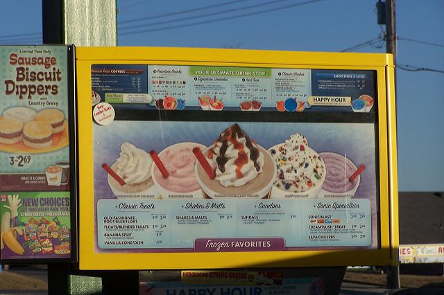 Sonic Dessert Menu  sonic dessert menu