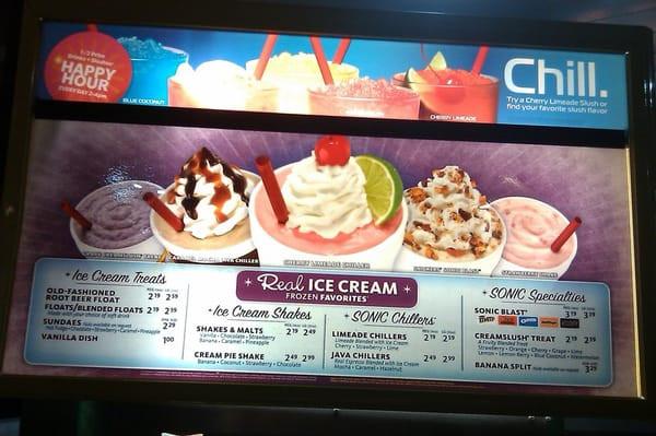 Sonic Dessert Menu  Sonic Drive In Columbia Heights MN