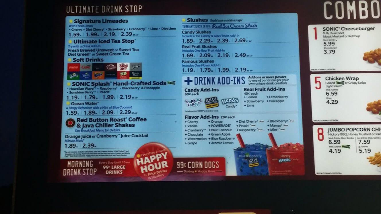 Sonic Dessert Menu  Sonic Menu Prices 2017