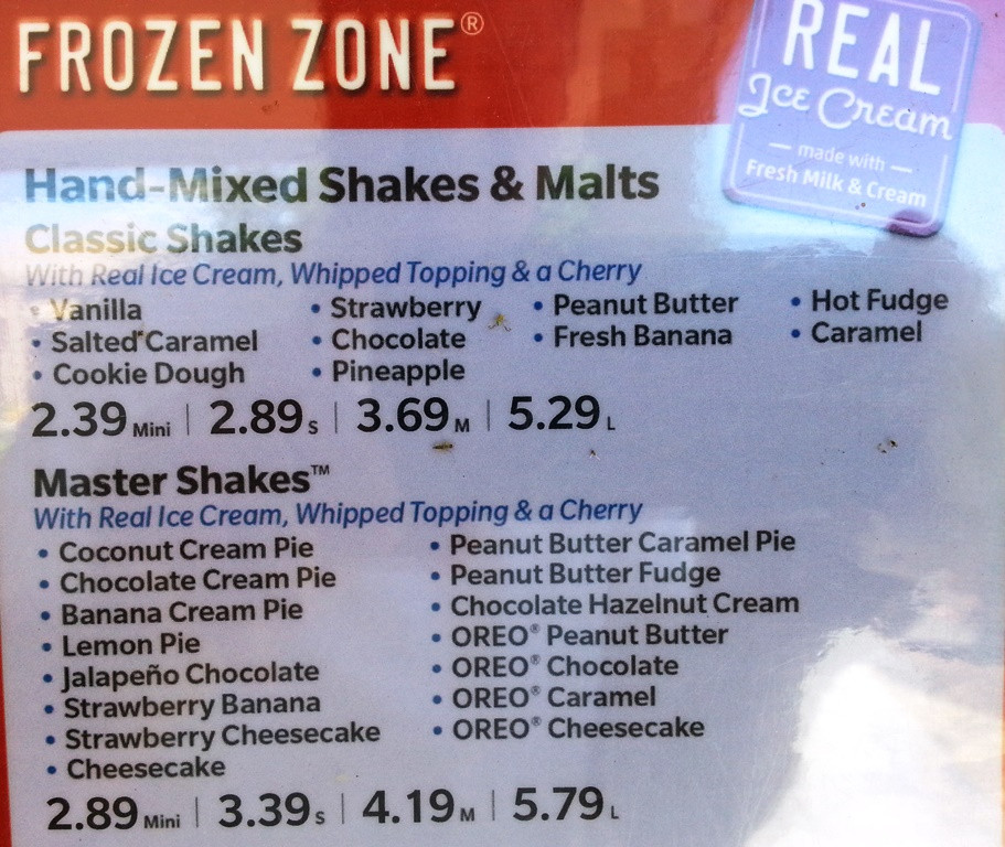 Sonic Dessert Menu  Fast Food Source fast food menus and blogs Sonic Menu