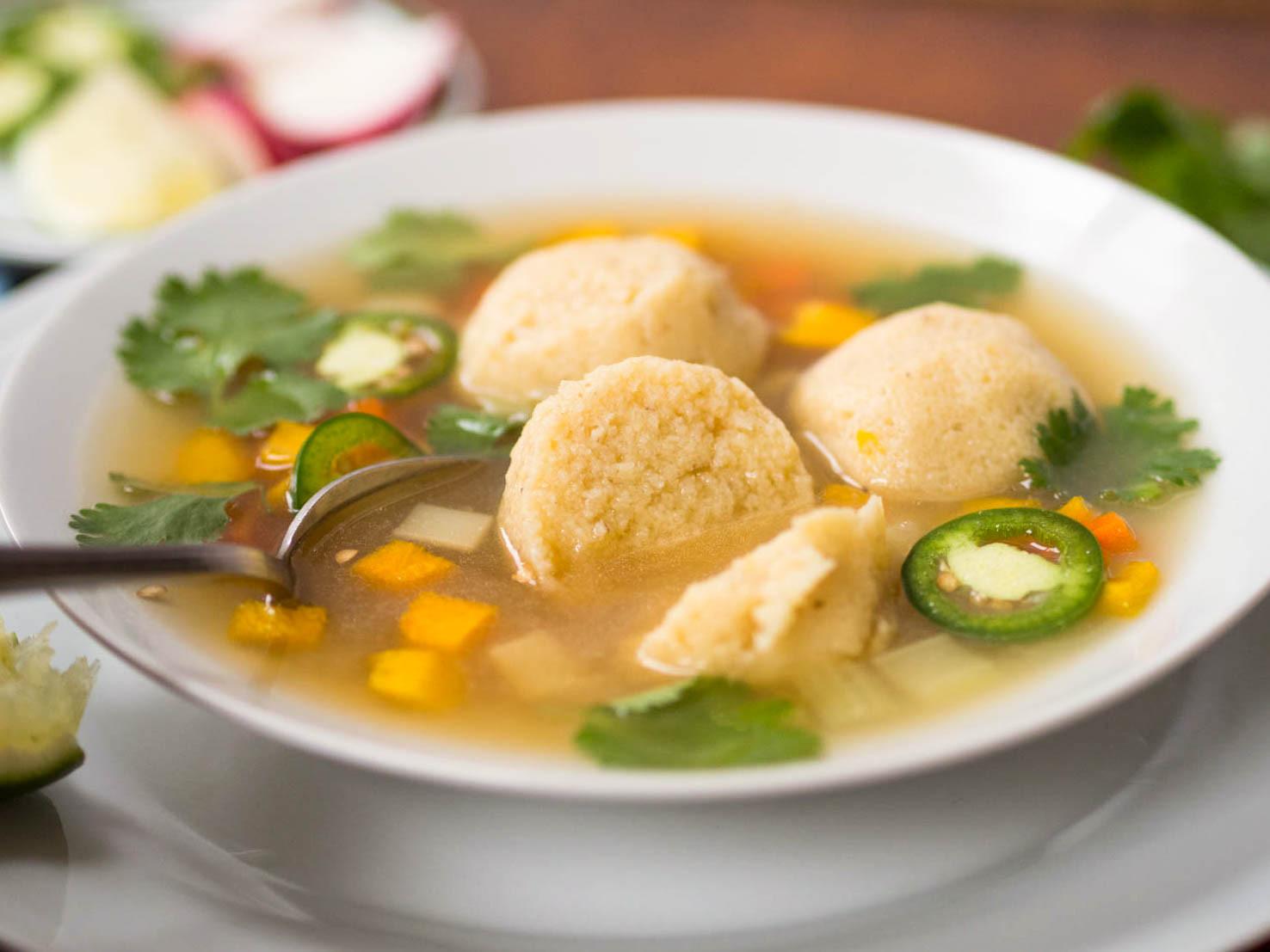 Soup Dumplings Recipe  Masa Ball Soup Mexican Corn Dumplings in Chicken Soup