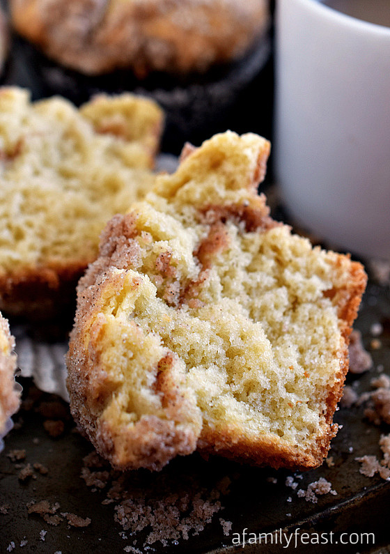 Sour Cream Coffee Cake Muffins  Sour Cream Coffee Cake Muffins A Family Feast