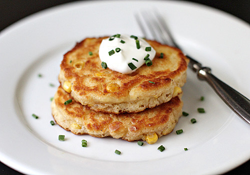 Sour Cream Pancakes  The Galley Gourmet Corn Pancakes with Sour Cream and Chives