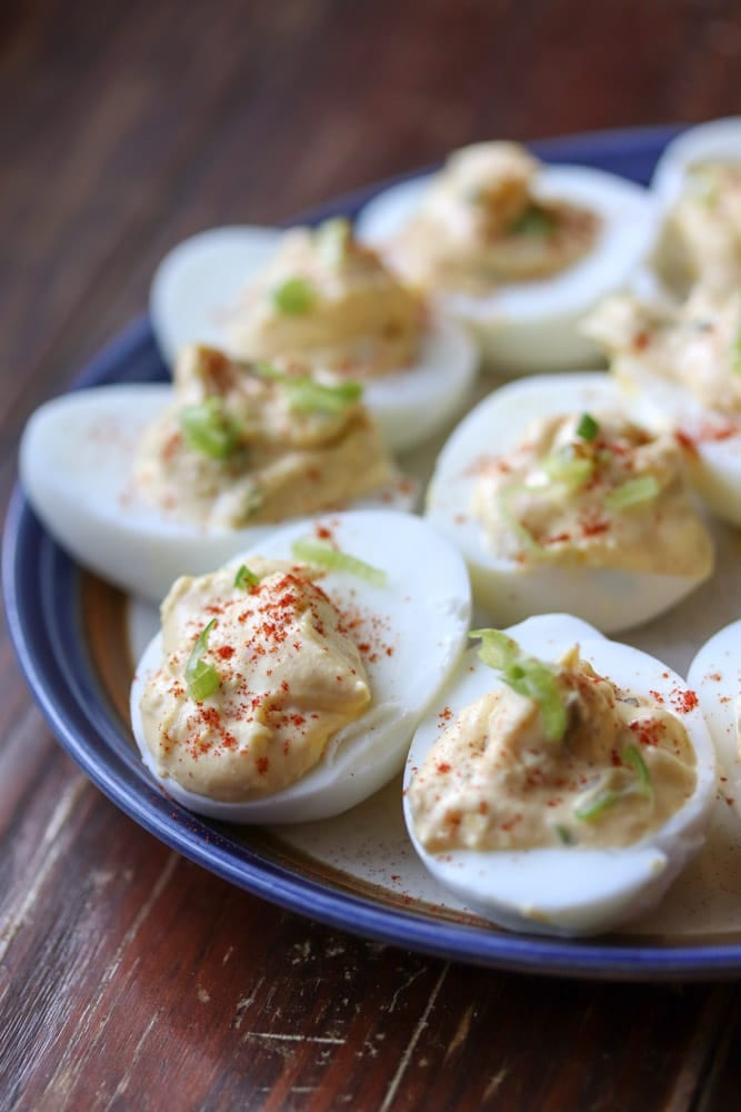 Southern Deviled Eggs  Spicy Southern Deviled Eggs and Virtual Baby Shower