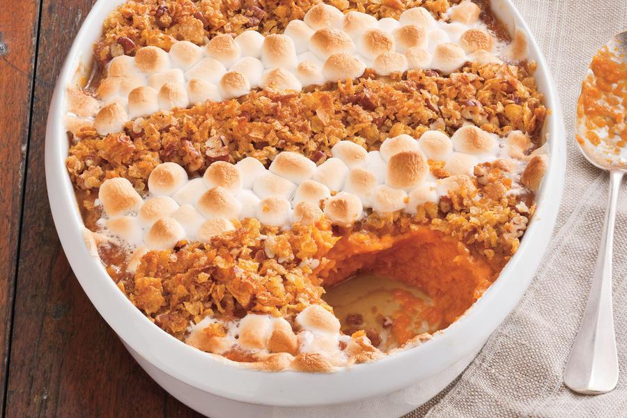 Southern Sweet Potato Casserole Marshmallows  Cornflake Pecan and Marshmallow Topped Sweet Potato
