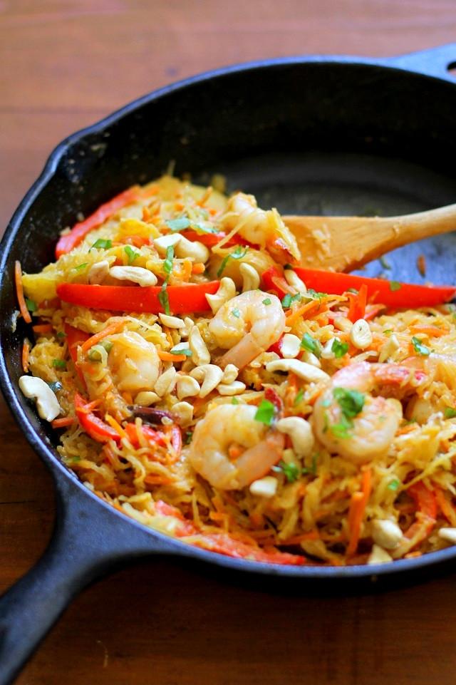 Spaghetti Squash Pad Thai  Spaghetti Squash Pad Thai with Cashew Ginger Sauce The