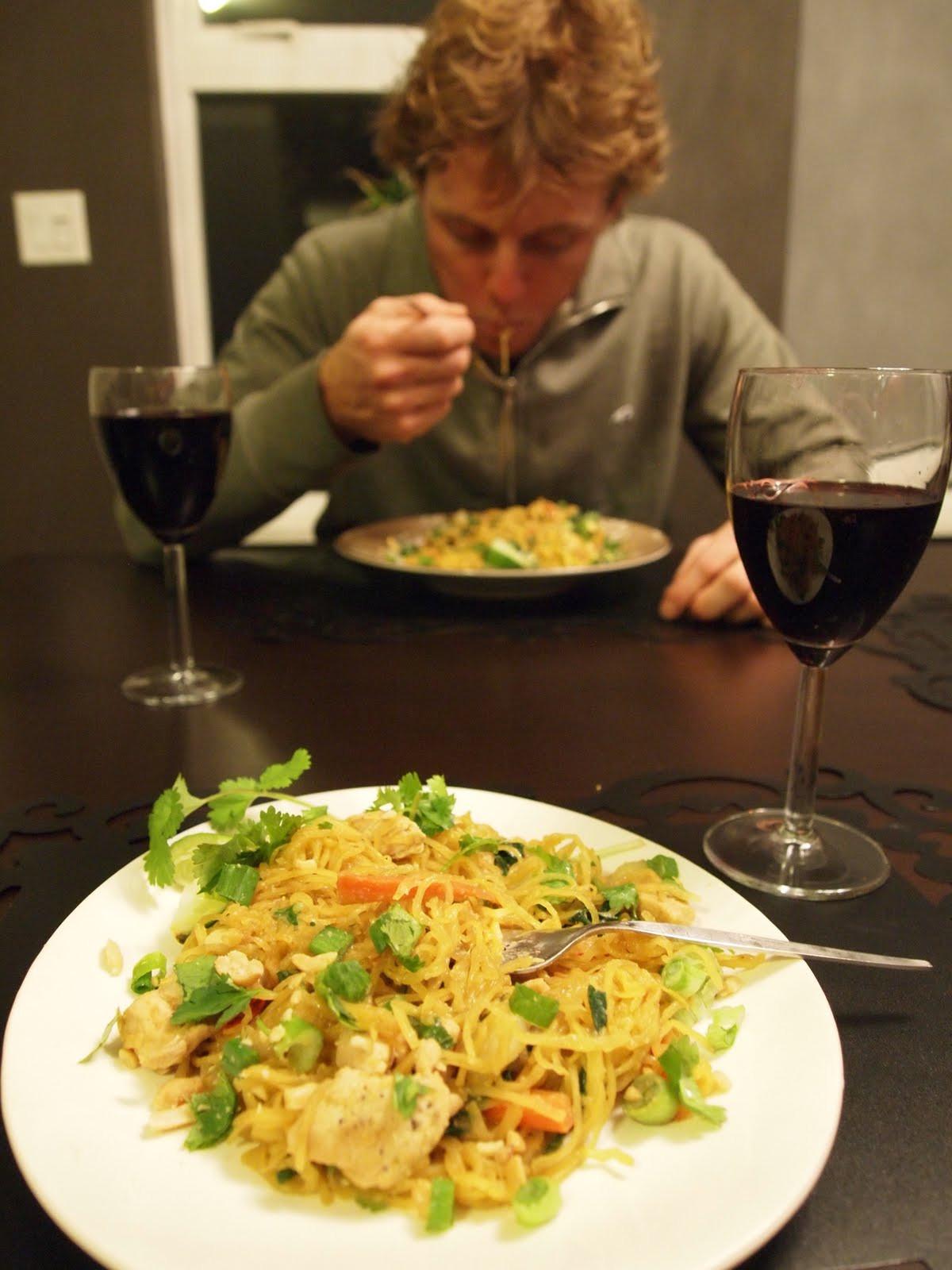 Spaghetti Squash Pad Thai  Stuff We Ate Chicken Pad Thai made with Spaghetti Squash