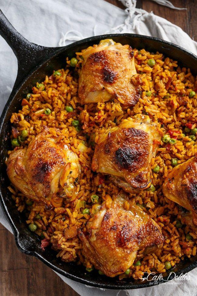 Spanish Chicken And Rice  e Pan Crispy Spanish Chicken and Rice Arroz Con Pollo
