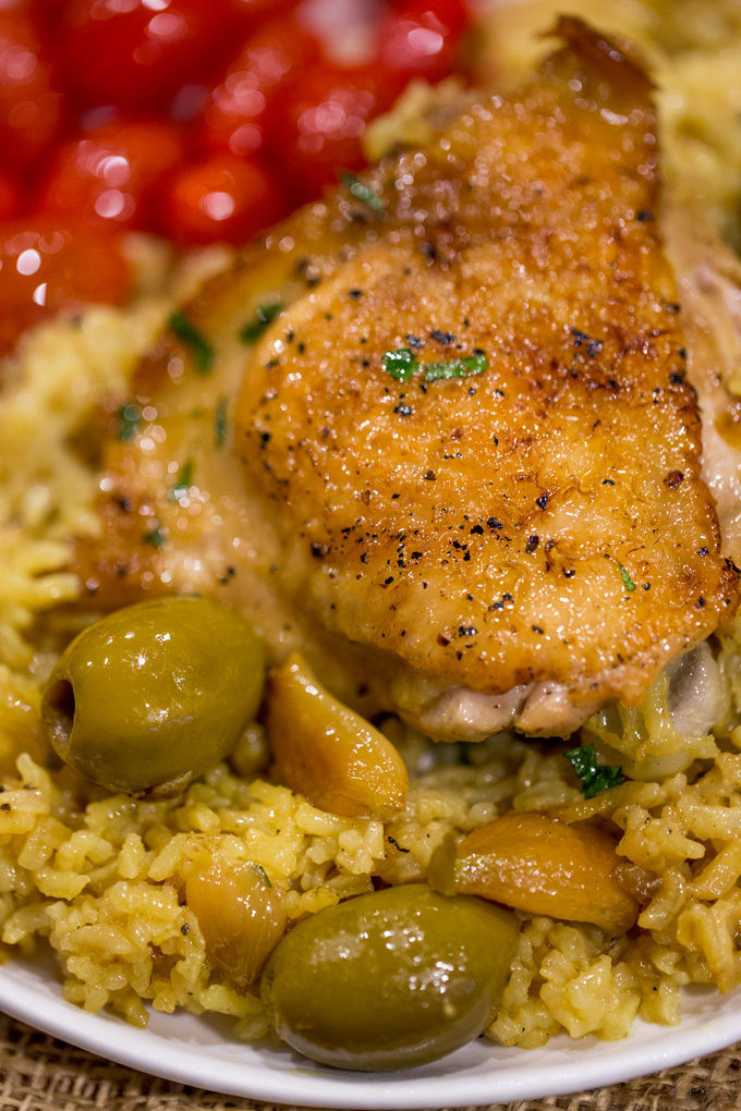 Spanish Chicken And Rice  spanish rice with olives and chicken