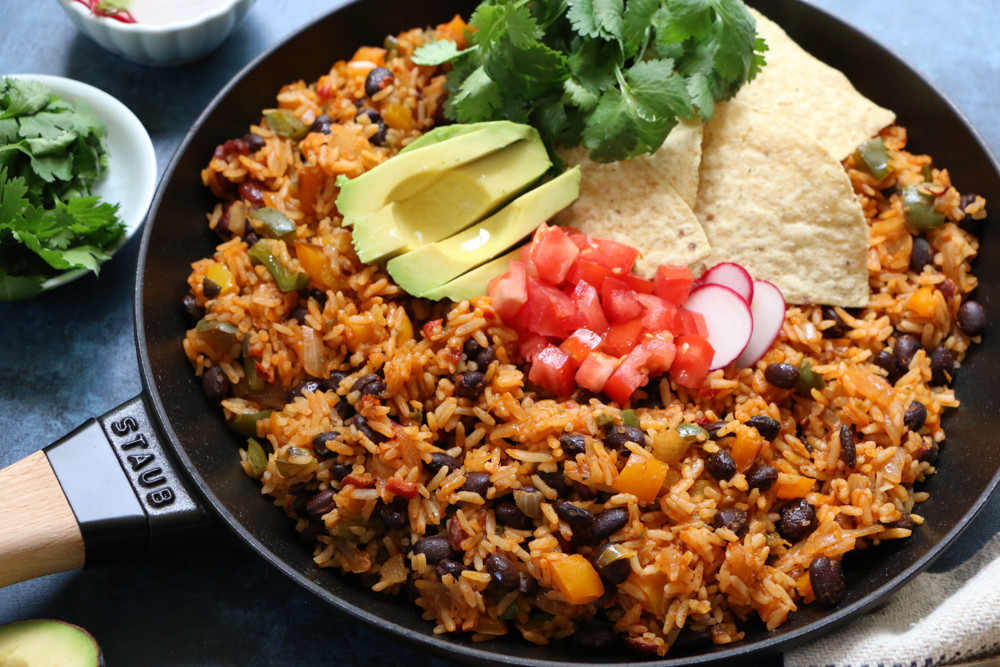 Spanish Rice And Beans Recipe  Rustic Mexican Rice and Beans Skillet Dinner • Hip Foo Mom