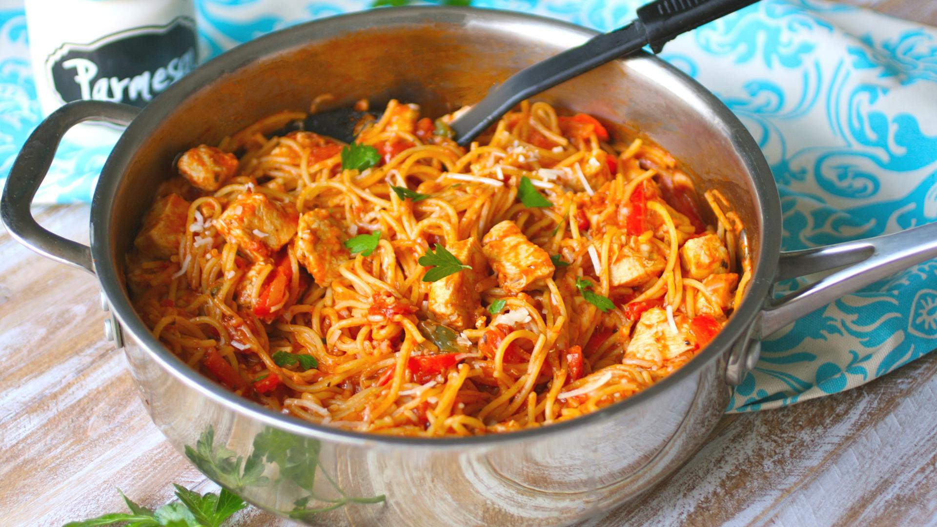 Spicy Dinner Recipes  Sunday dinner Spicy skillet chicken spaghetti