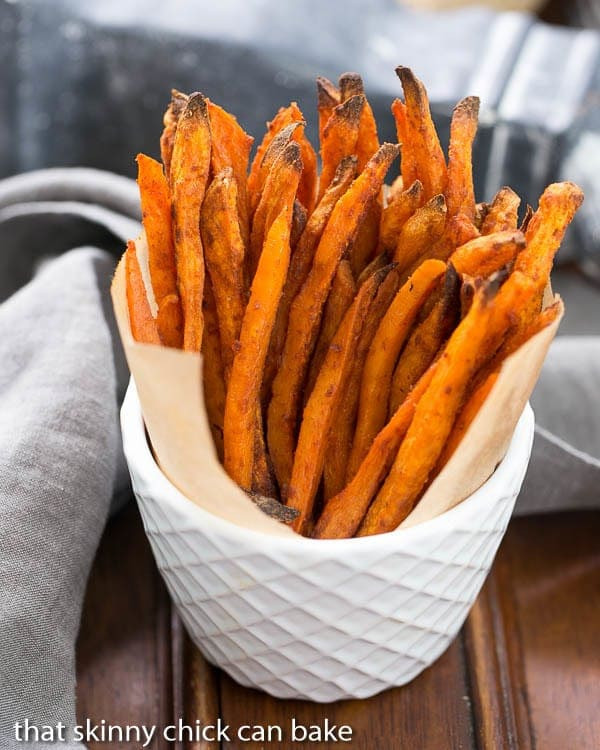 Spicy Sweet Potato Fries  Spicy Sweet Potato Fries That Skinny Chick Can Bake