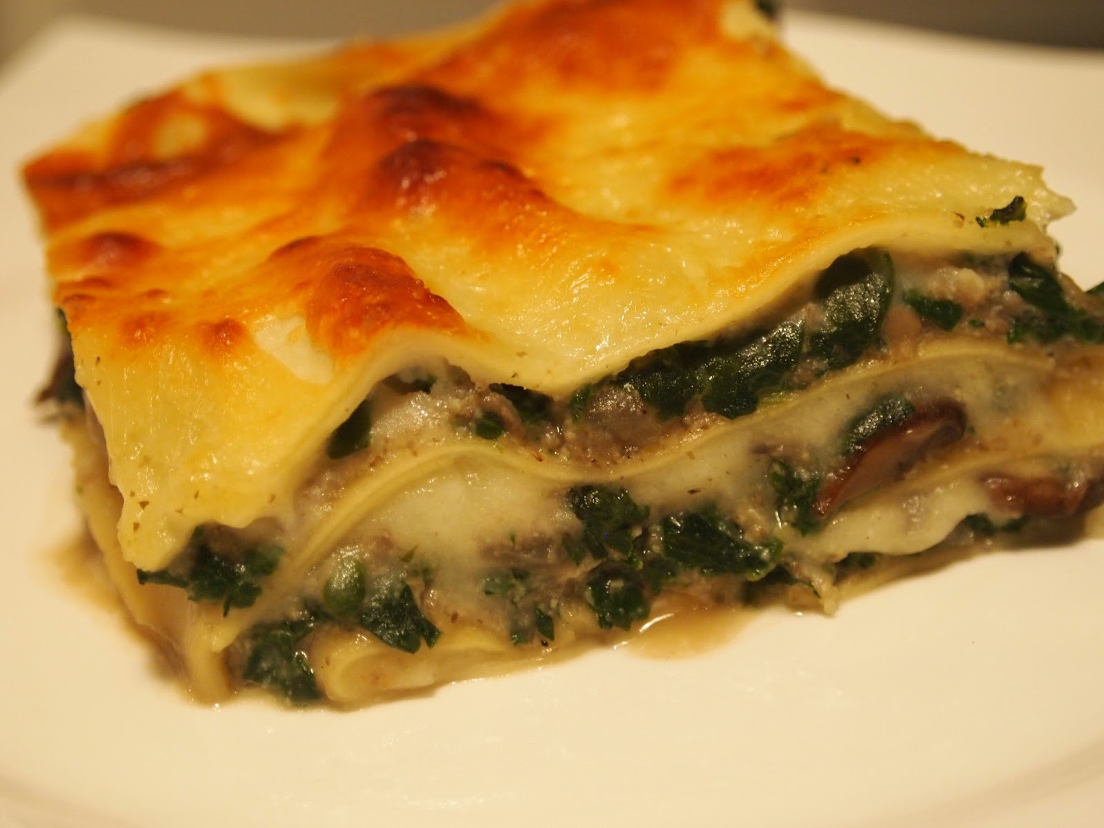 Spinach And Mushroom Lasagna  Hungry Happy Healthy Mushroom and Spinach Lasagna