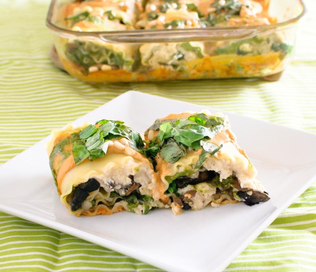 Spinach Mushroom Lasagna  Vegan Spinach & Mushroom Lasagna Rolls with Sun dried