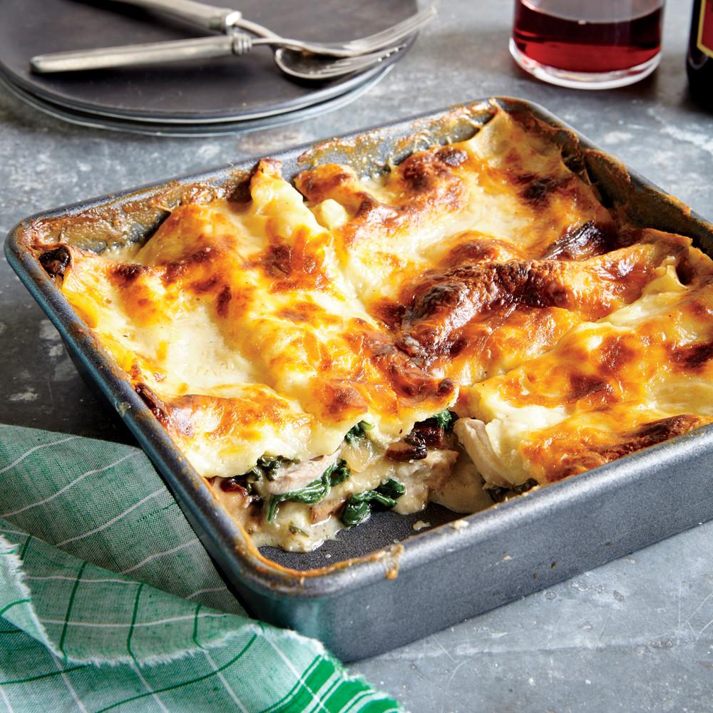 Spinach Mushroom Lasagna  Chicken Spinach and Mushroom Lasagna Recipe
