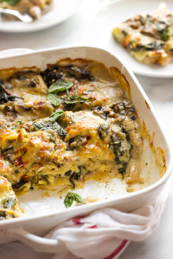 Spinach Mushroom Lasagna  Chicken Mushroom and Spinach Lasagna Little Broken
