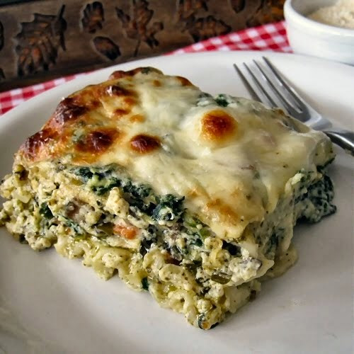 Spinach Mushroom Lasagna  Spinach Mushroom and Pesto Lasagna