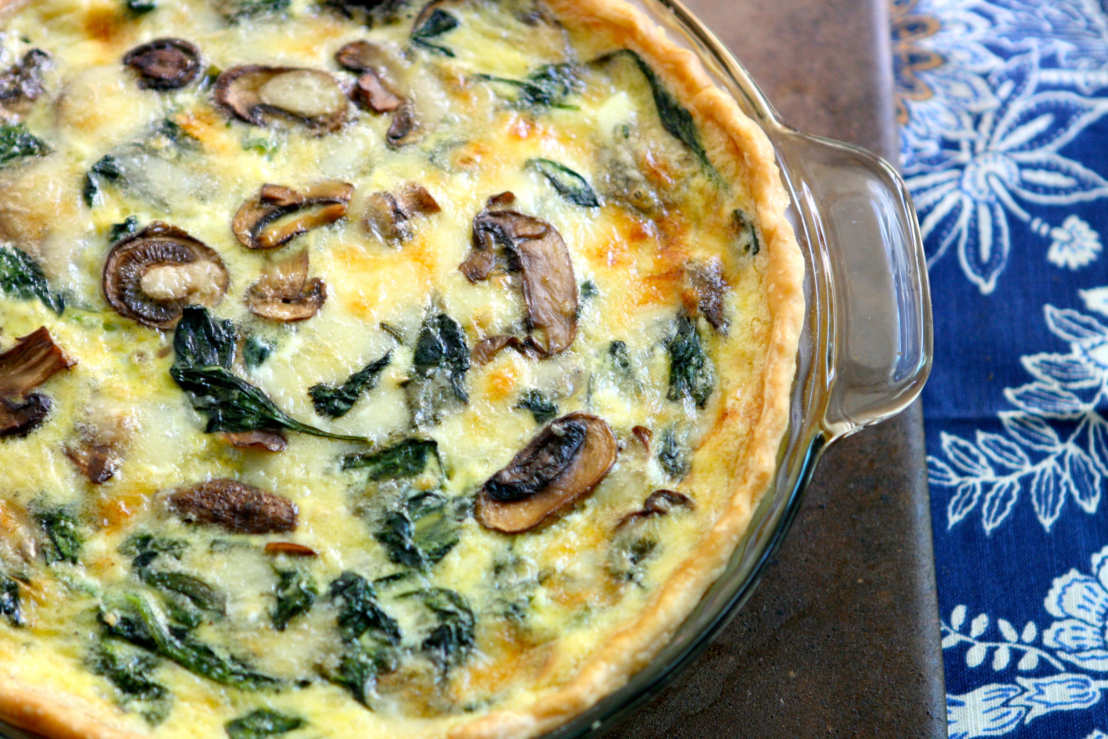 Spinach Mushroom Quiche Recipe  Cheesy Spinach and Mushroom Quiche