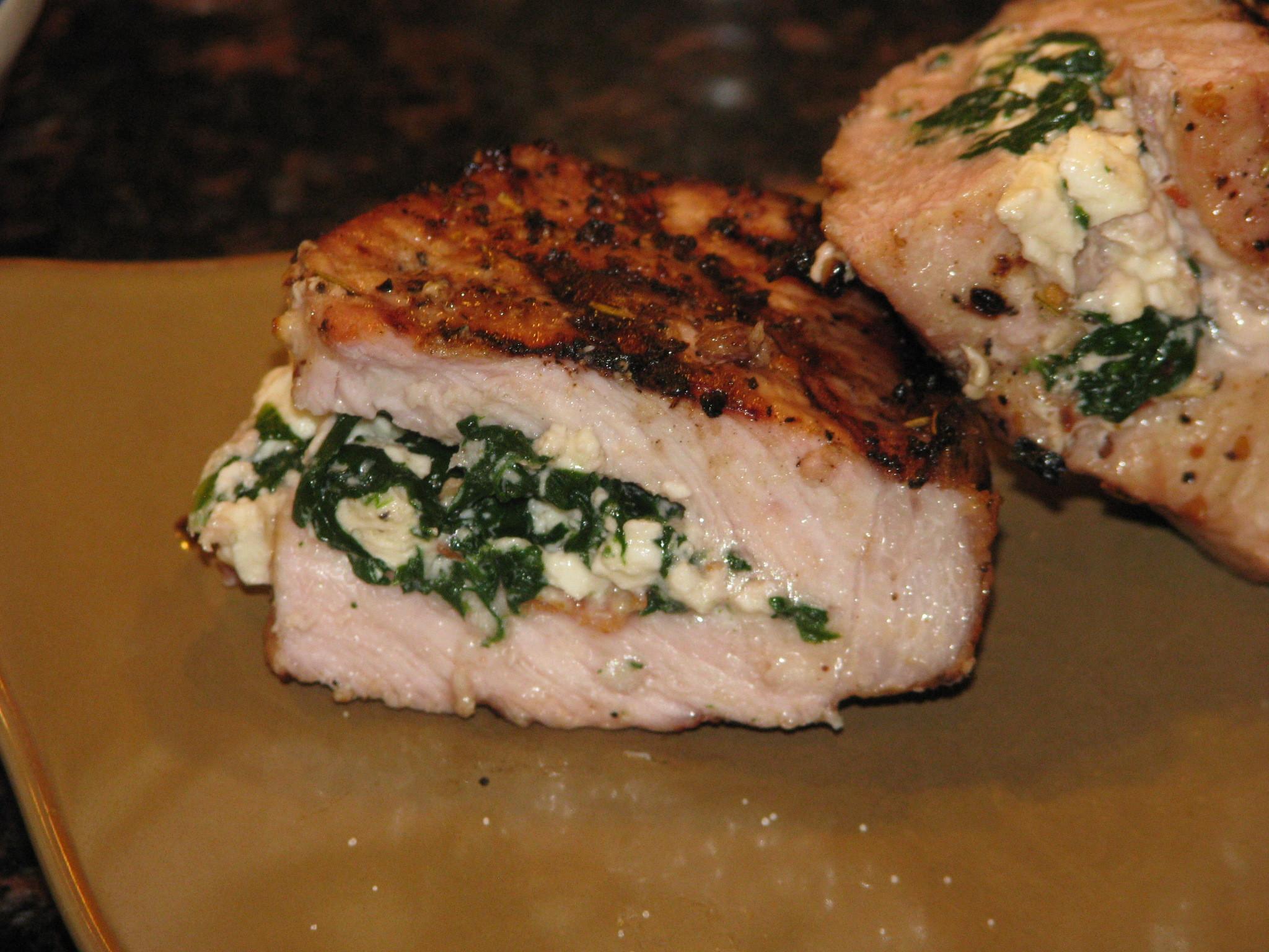 Spinach Stuffed Pork Chops  Feta and Spinach Stuffed Pork Chops