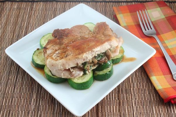 Spinach Stuffed Pork Chops  Low Carb Roasted Garlic Spinach and Mushroom Stuffed Pork
