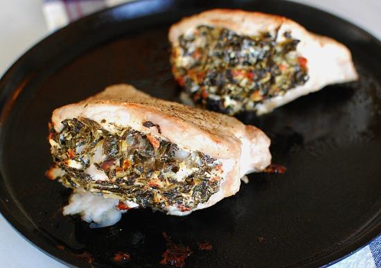 Spinach Stuffed Pork Chops  Broiled Spinach Stuffed Pork Chops