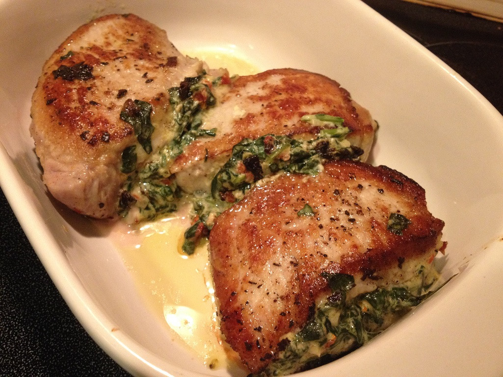 Spinach Stuffed Pork Chops  Pork Chops Stuffed with Sun Dried Tomatoes and Spinach