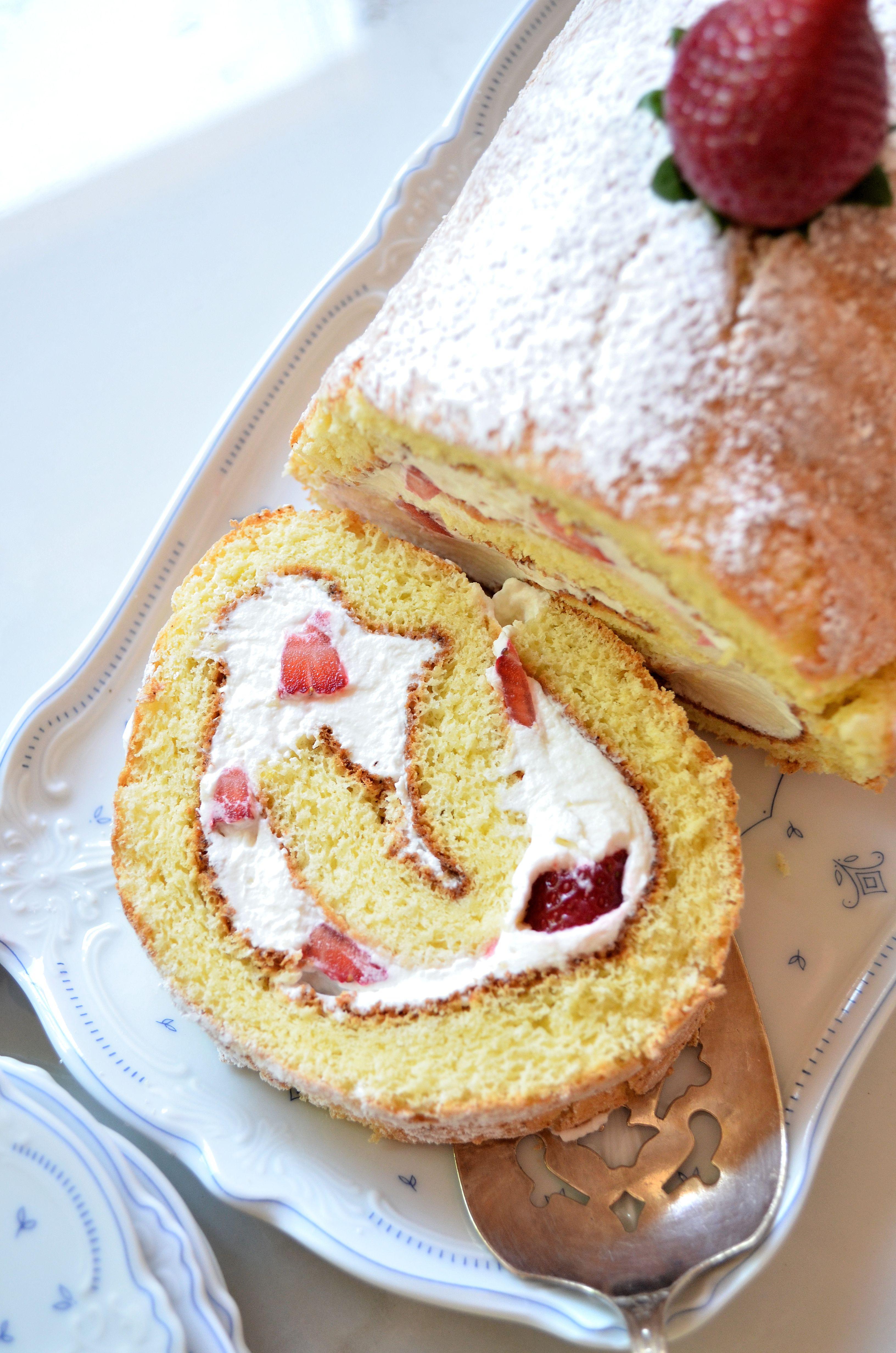 Sponge Cake Roll  Strawberry Sponge Cake Roll — Gin's Kitchen
