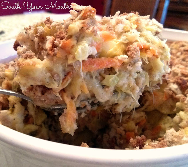Squash Casserole With Stuffing  South Your Mouth Squash Casserole