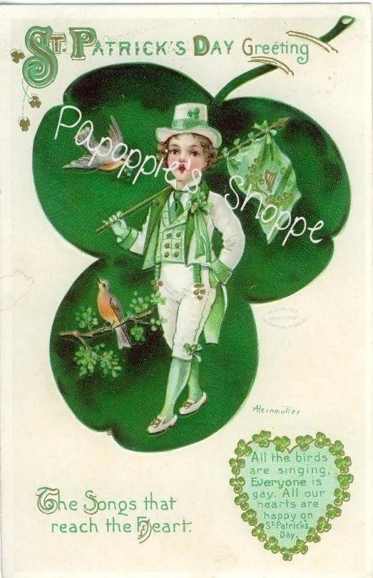 St. Patrick'S Day Cupcakes  St Patrick s Day Fabric Block Vintage Postcard on Fabric