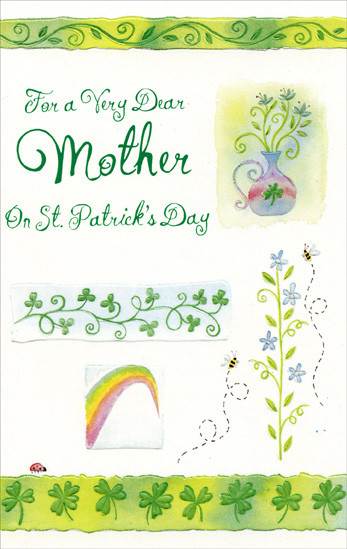 St. Patrick'S Day Cupcakes  Vase Rainbow & Shamrocks Mother St Patrick s Day Card