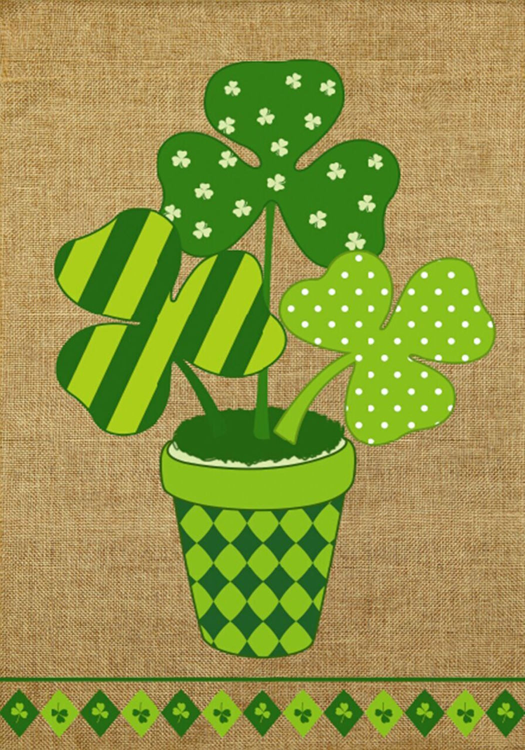 St. Patrick'S Day Cupcakes  Potted Shamrock Burlap Garden Flag St Patrick s Day 12 5