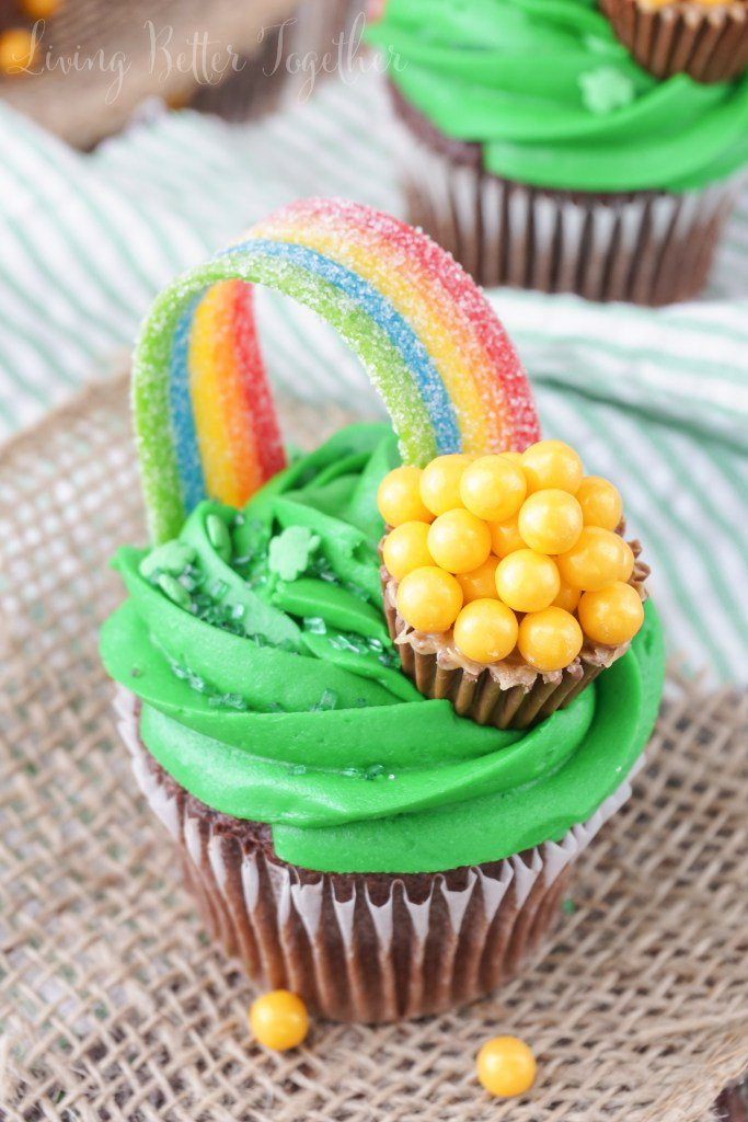 St Patricks Day Cupcakes  St Patrick s Day Pot of Gold Cupcakes All Created