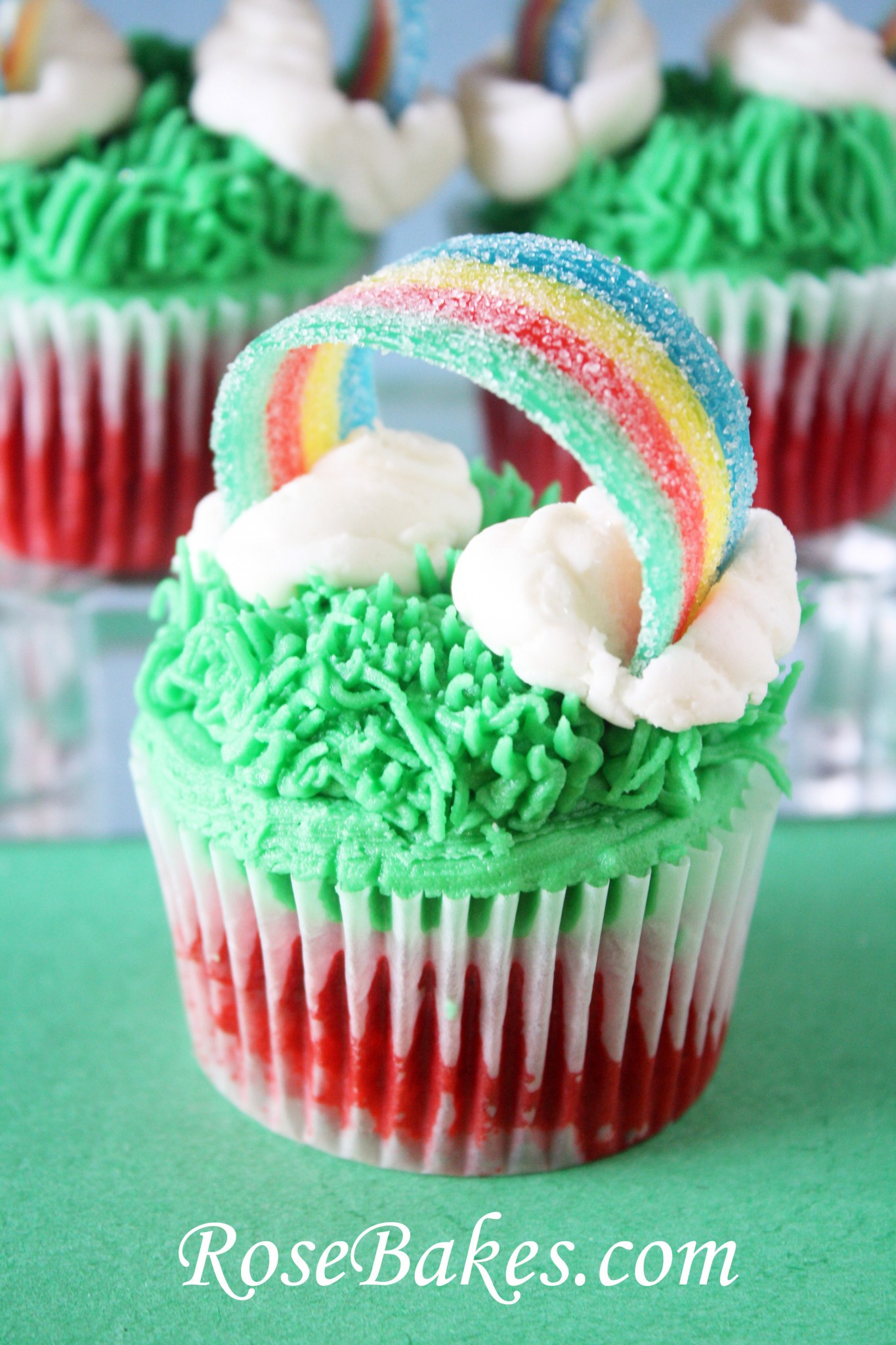 St Patricks Day Cupcakes  St Patrick s Day Cupcakes with Sour Power Rainbows