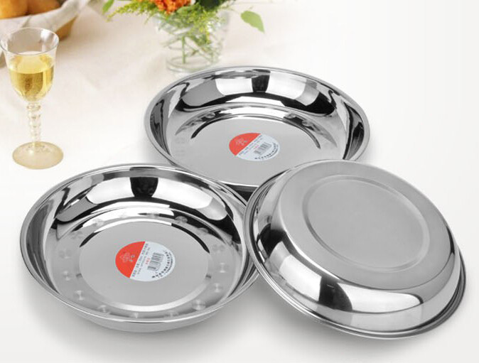 Stainless Steel Dinner Plates  Wholesale Stainless steel Circular dinner plate Fruits