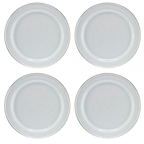 Stainless Steel Dinner Plates  Falcon Enamelware White and Stainless Dinner Plate Set